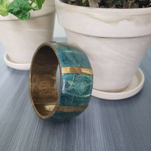 Vintage 1970s teal Gold thick bangle bracelet
